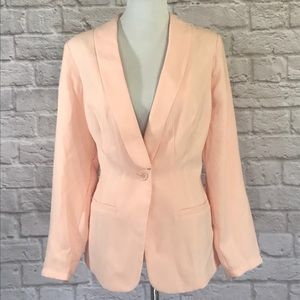 Just Fab Peach sheer back blazer, size 1X